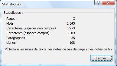 Statistiques d'un fichier Word